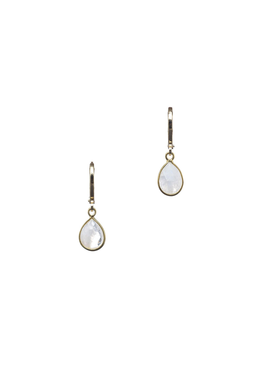 Dainty Moonstone Droplet Hoops | Antonia Y. Jewelry