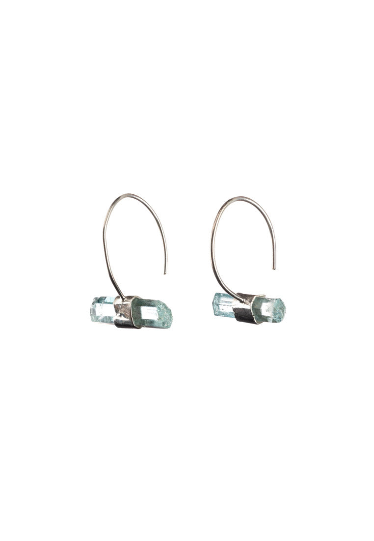 Raw Aquamarine Earrings | Antonia Y. Jewelry