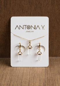 Clear Quartz Necklace & Earrings Gift Set | Antonia Y. Jewelry