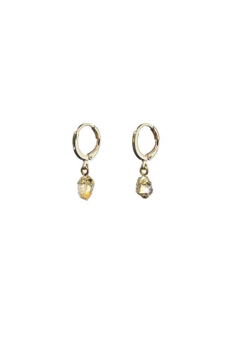 Raw Citrine Hoops - Antonia Y. Jewelry