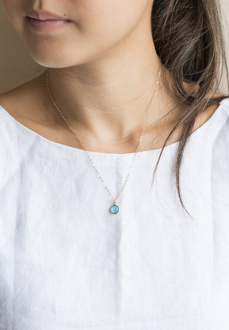 Blue Chalcedony Dainty Necklace - Antonia Y. Jewelry