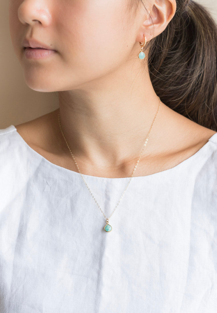 Dainty Amazonite Gold Hoops - Antonia Y. Jewelry