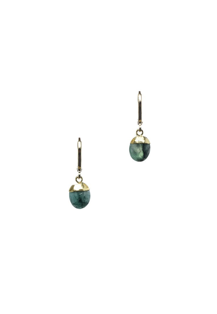 Emerald Cabochon Hoops | Antonia Y. Jewelry