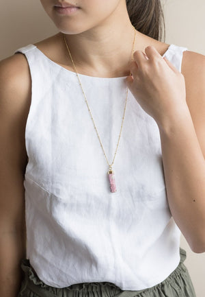 Rhodochrosite Rod Gold Dipped Necklace | Antonia Y. Jewelry