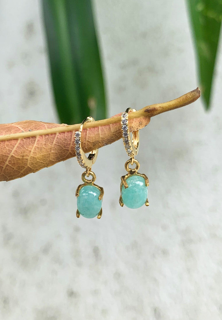 Elevated Amazonite Gold Hoops - Antonia Y. Jewelry