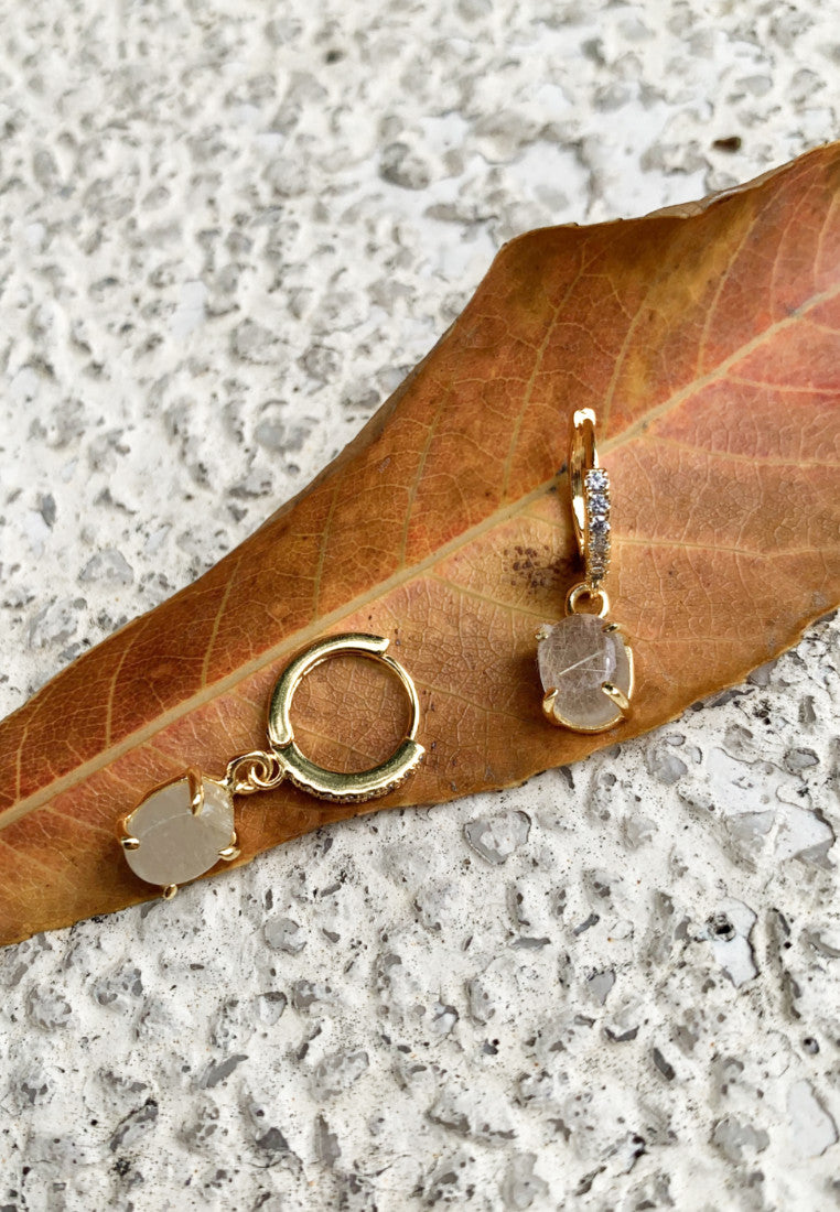 Elevated Golden Rutile Gold Hoops - Antonia Y. Jewelry