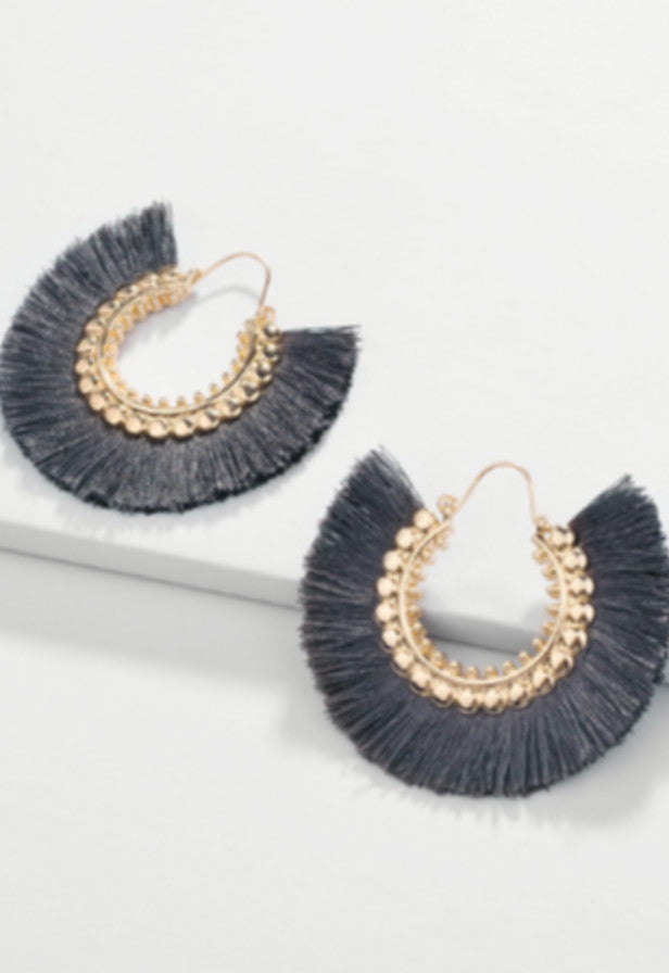 Loretta Tassel Fringe Earrings - Gunmetal - Antonia Y. Jewelry
