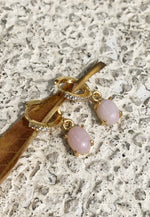 Elevated Pink Opal Gold Hoops - Antonia Y. Jewelry