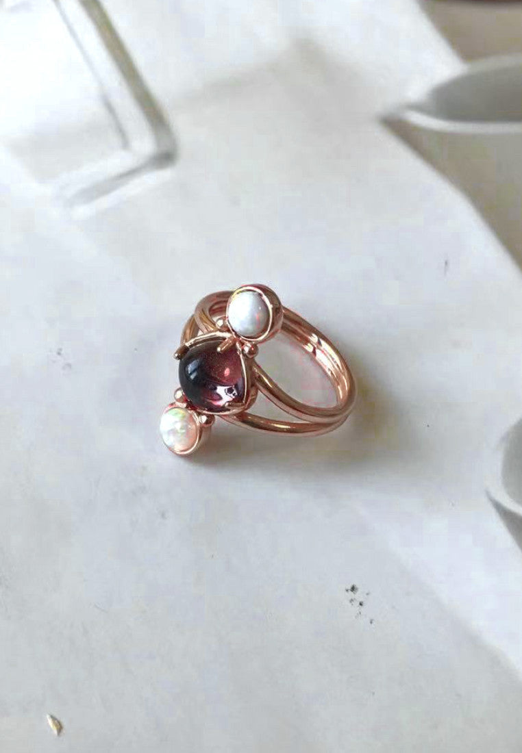 Rose Gold Tourmaline & Opal Ring - Antonia Y. Jewelry
