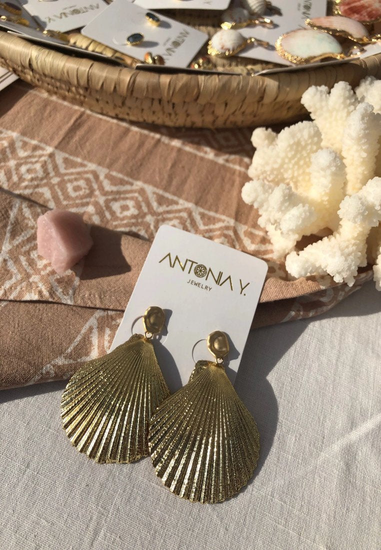 Sadie - Gold Dipped Seashell Earrings | Antonia Y. Jewelry