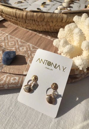 Olivia Shells & Fresh Water Pearls Earrings | Antonia Y. Jewelry
