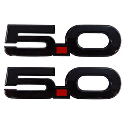 Gloss Black Ford 5.0L Wing Emblems (Pair)