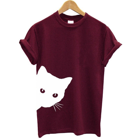 OB Cat Looking Out Side Print Women Tshirt