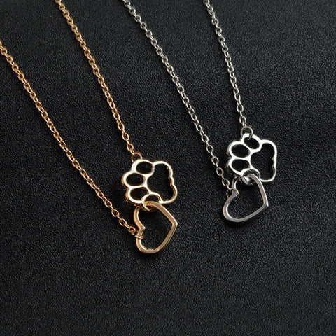 OB Hollow Pet Cat Paw Footprint Necklaces