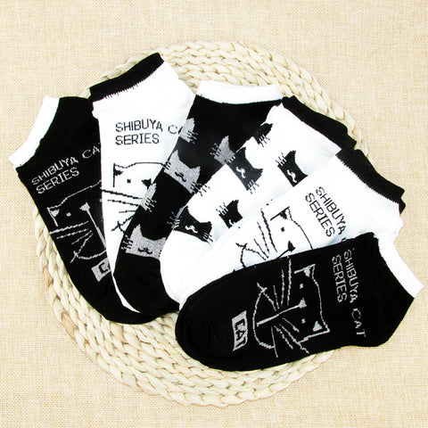 OB Cat Warm Cotton Bamboo Fiber Women's Socks