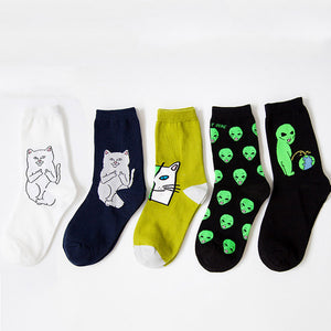 OB Alien Cat Funny Cartoon Breathable Autumn Winter Socks