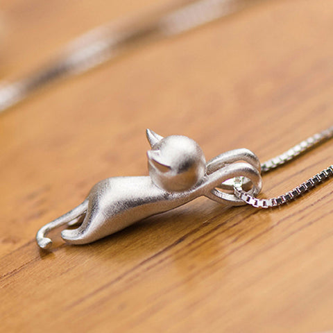 OB Tiny Cute Cat Pendants Silver Plated Necklace