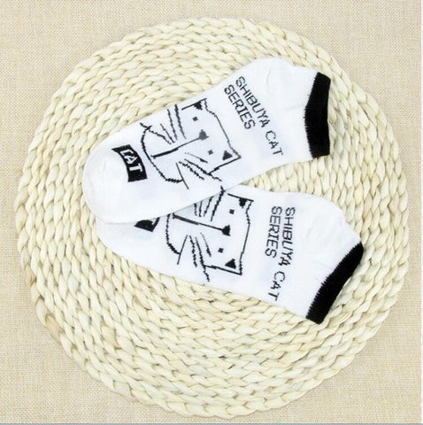 Cat Warm Cotton Bamboo Fiber Women's Socks
