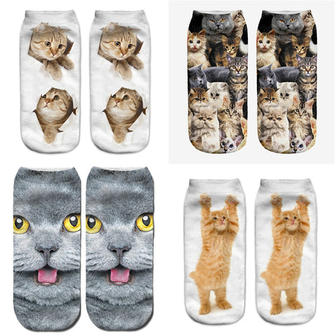 Image of 2018 New 3D Printing Women Socks Brand Sock Fashion Unisex Socks Cat Pattern Meias Feminina Funny Low Ankle HOT Sox funny cat