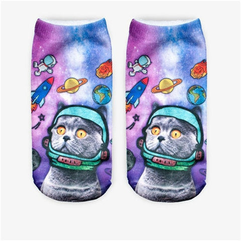 3D Printing Women Socks Brand Sock Fashion Unisex Socks Cat Pattern Meias Feminina Funny Low Ankle HOT Sox funny cat