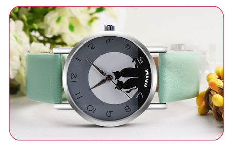 2018 New Fashion Lovely Cat Pattern Casual Leather Band Watches Women Wristwatches Quartz Watch Clock Relogio Feminino Drop Ship