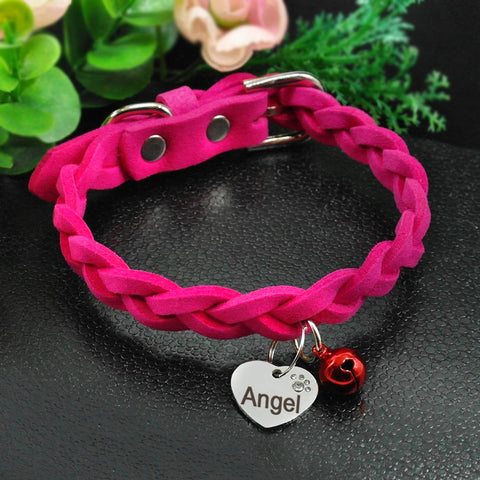 Suede Leather Personalized Cat Collar