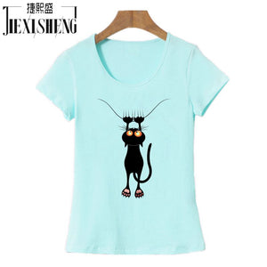 2017 Fashion kawaii T shirt Women Summer Tops Casual Cotton 3D Cat Print and Short Sleeve O-neck Vogue tshirt