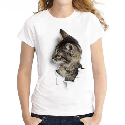 OB Charmed 3D Cat Print Casual Harajuku Women T-Shirt