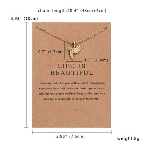 OB Cat Ear Angel Wings Pendant Necklace