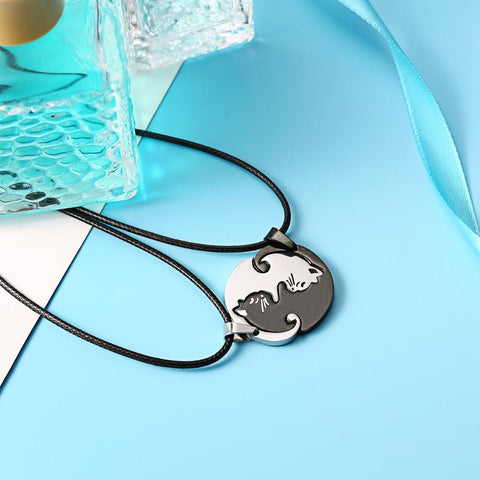 OB Black White Cat Pendants Couples Jewelry