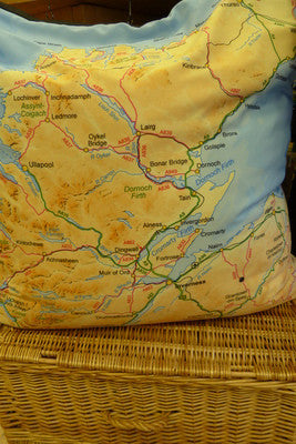 Judith Glue Scotland Map Large Floor Cushion