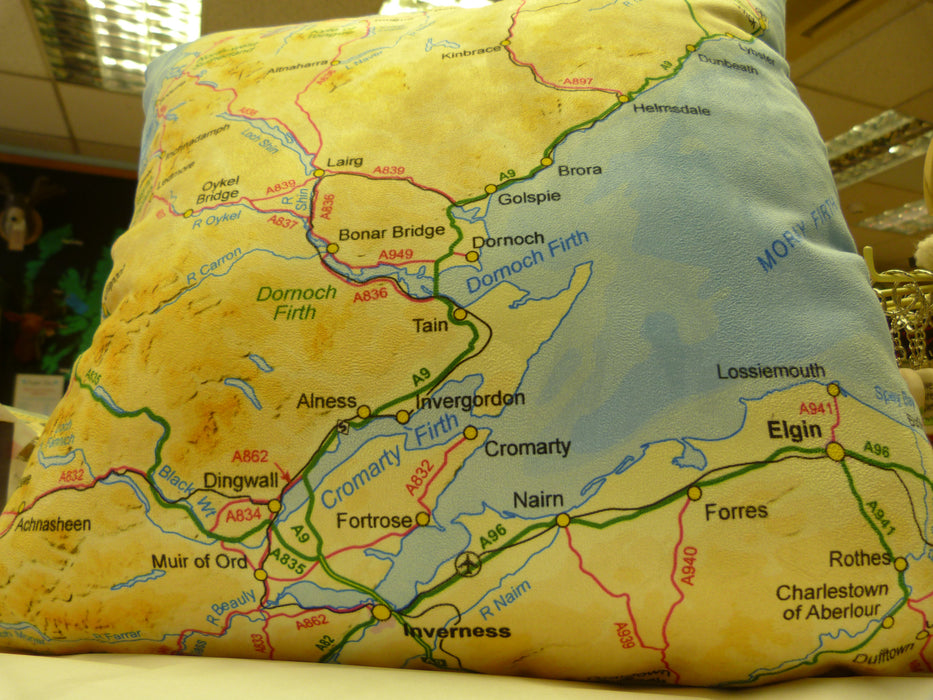 Judith Glue Highlands of Scotland Map Small Cushion