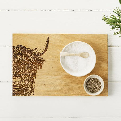 Scottish Made Selbrae House Oak Highland Cow Serving Board 30cm £36.00