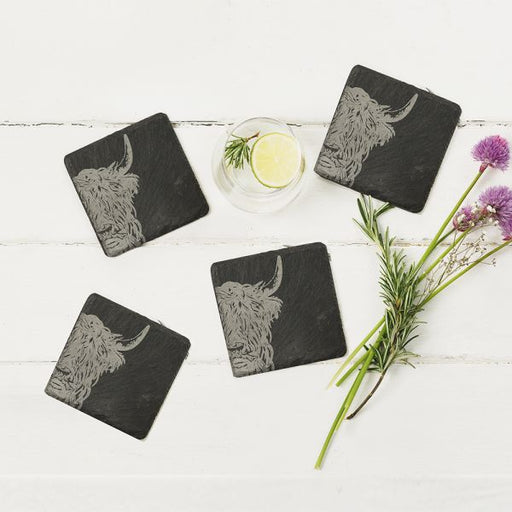 Just Slate Selbrae House Four Slate Highland Cow Coasters £25.00