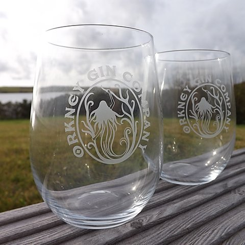 Orkney Gin Company - Set of two glasses with two gin mats £14.95