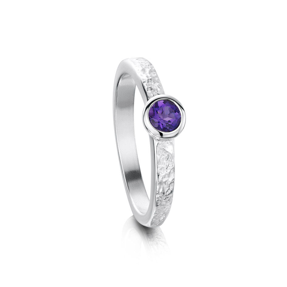 Sheila Fleet Matrix Texture Amethyst Stone Ring in Sterling Silver ( SR0215 )  £135.00