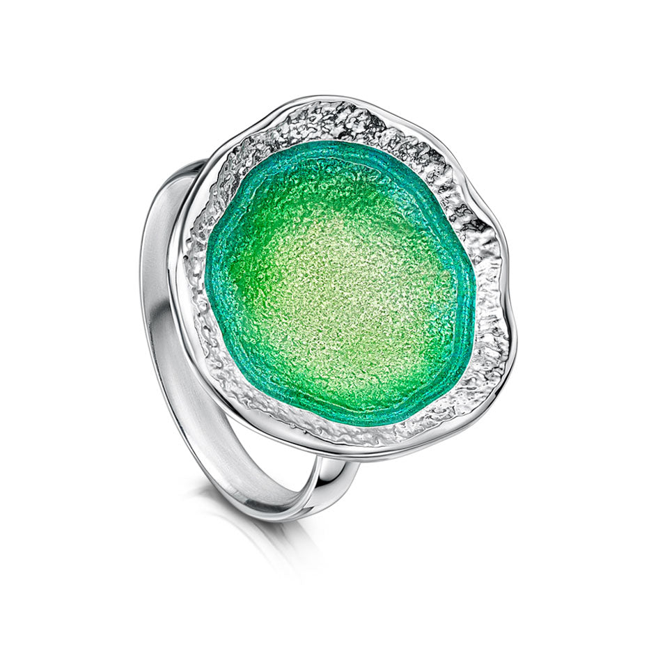Sheila Fleet Lunar Large Ring Spring Green  ( ER249-BRIGHT )  £184.00