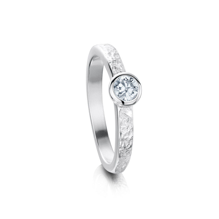 Sheila Fleet Matrix Texture Cubic Zirconia Stone Ring in Sterling Silver ( SR0215 ) £135.00