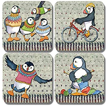 "Emma Ball Woolly Puffin Coaster "" On your Bike "" £2.95"