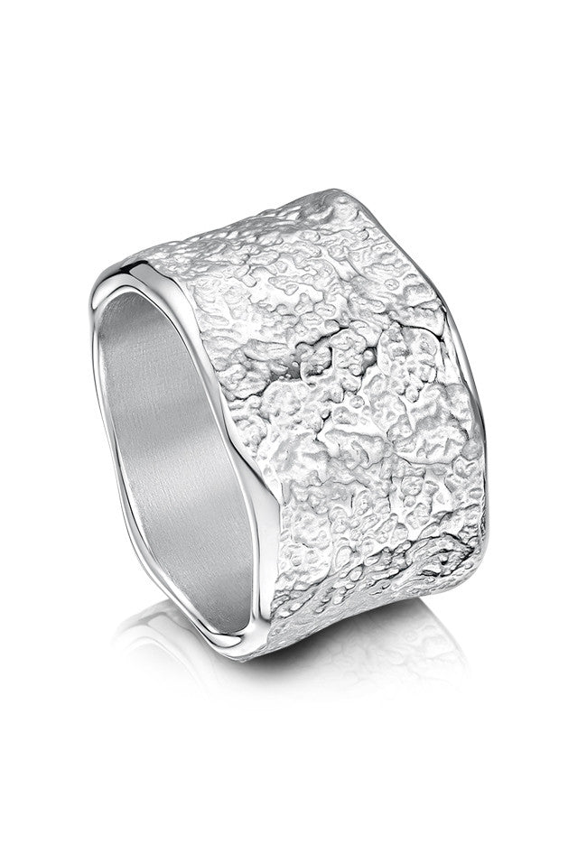 Sheila Fleet Matrix Texture Thick Ring in Sterling Silver