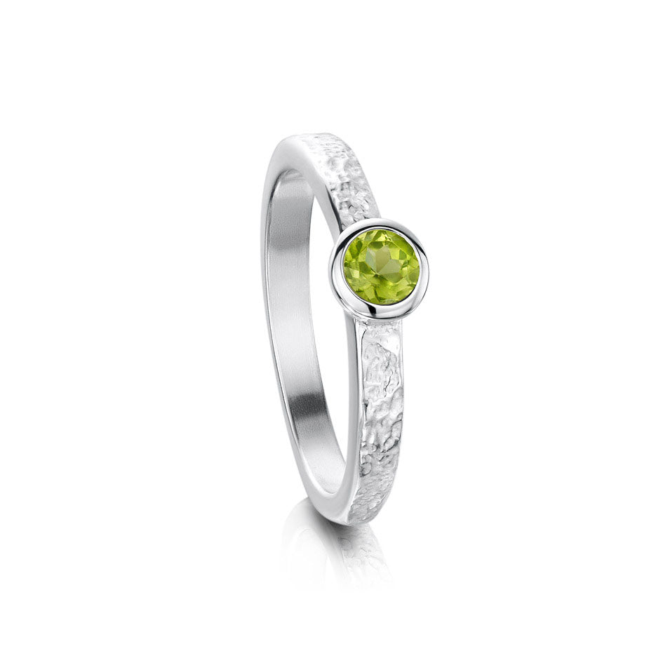Sheila Fleet Matrix Texture Peridot Stone Ring in Sterling Silver ( SR0215 ) £135.00