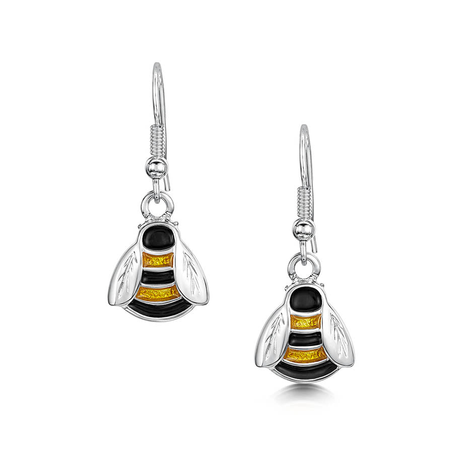 BRAND NEW Sheila Fleet Bumblebee Silver and Enamel Drop Earrings ( EE273 ) £99.00