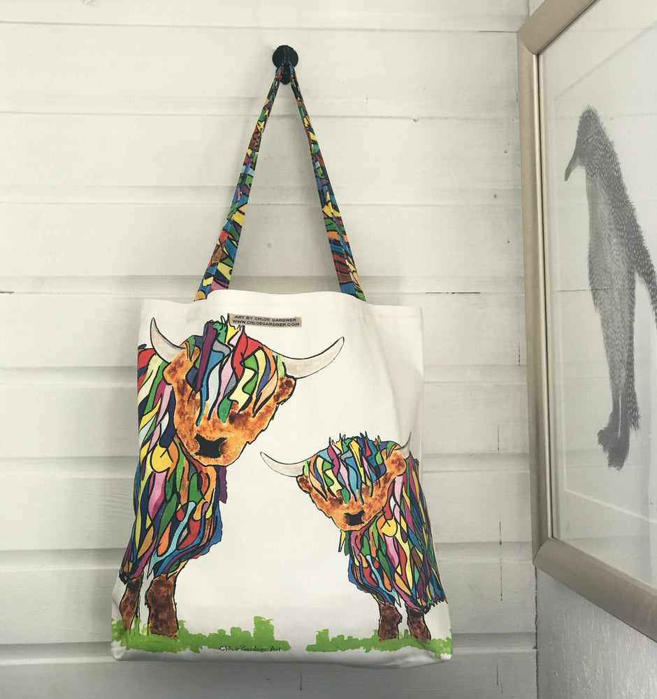 Chloe Gardner Highland Cow Large Cotton Bag £19.95