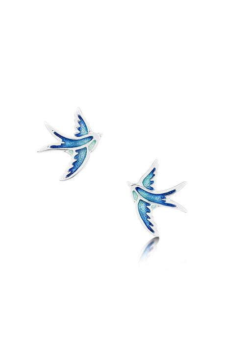 Sheila Fleet Swallows Stud Earrings Summer Blue IN STOCK ( EE00197 )  £76.00