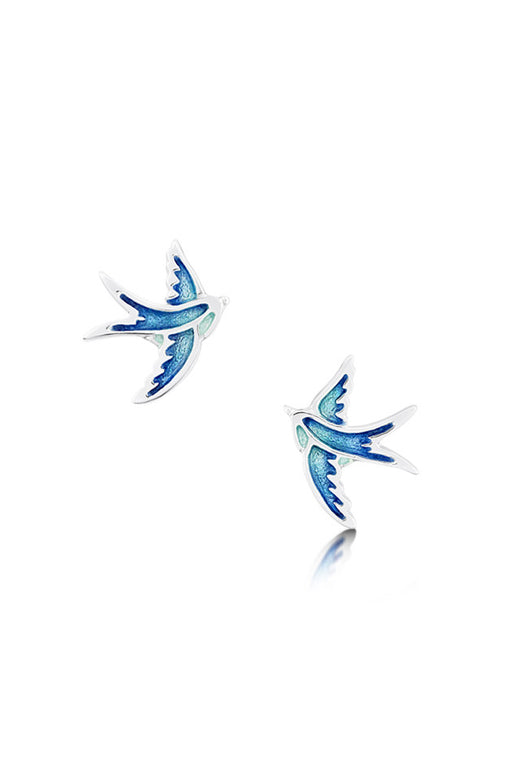 Sheila Fleet Swallows Stud Earrings Summer Blue ( EE00197 )  £76.00