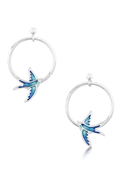 Sheila Fleet Swallows Drop Hoop Earrings Summer Blue IN STOCK ( EE198 )  £115.00