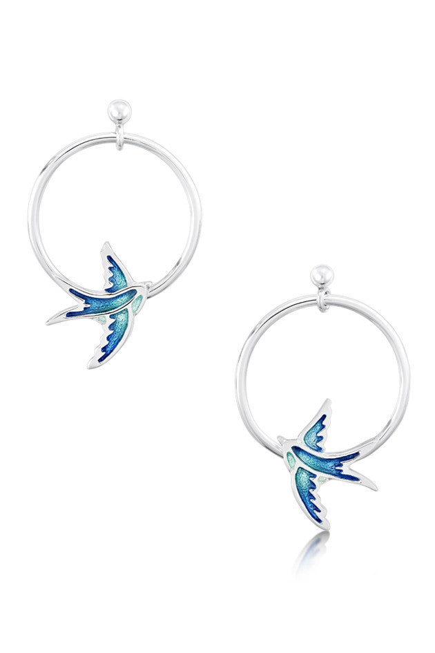 Sheila Fleet Swallows Drop Hoop Earrings Summer Blue ( EE198 )  £115.00