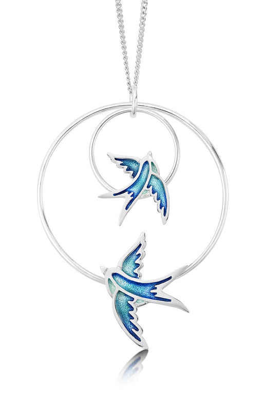 Sheila Fleet Swallows Double Hoop Pendant Summer Blue IN STOCK  ( EPXX198 )  £164.00