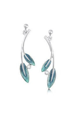 Sheila Fleet Rowan Double Leaf Drop Earrings in Sage  £117.00
