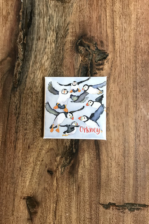 Emma Ball Flying Puffins Orkney Magnet £2.95
